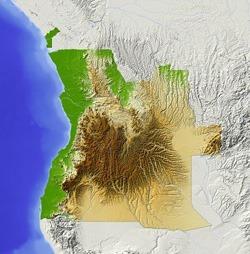 Carte représentant plaines, montagnes et deserts