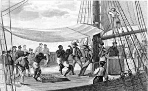 Esclaves africains embarqués sur un navire 19e-sicle