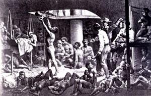 Esclaves dans un fond de cale du bateau négrier en 1827