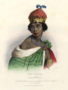 Illustration du peintre français Achille Devéria représentant Njinga Mbandi, 1830s